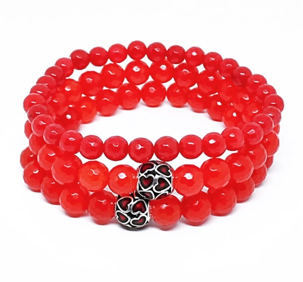 Image of '3 x's a charm' triple stack red dyed Jade stretch bracelets with heart beads