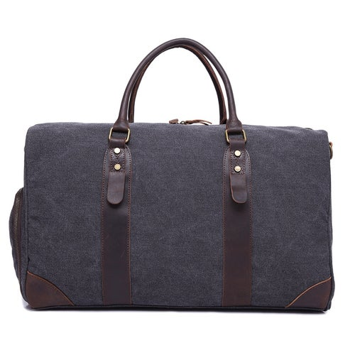 Image of Canvas Leather Trim Travel Duffel Shoulder Handbag Weekender Carry On Luggage with Shoe Pouch F24