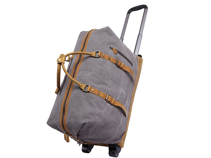 Oversized Canvas Leather Trim Travel Duffel Weekend Bag