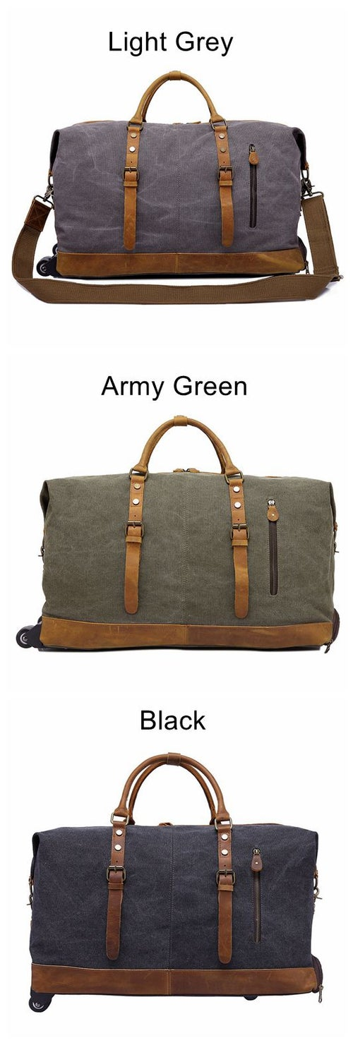 Image of Oversized Canvas Leather Trim Travel Duffel Weekend Bag 50L Wheel Version Trolley Bag 12031T
