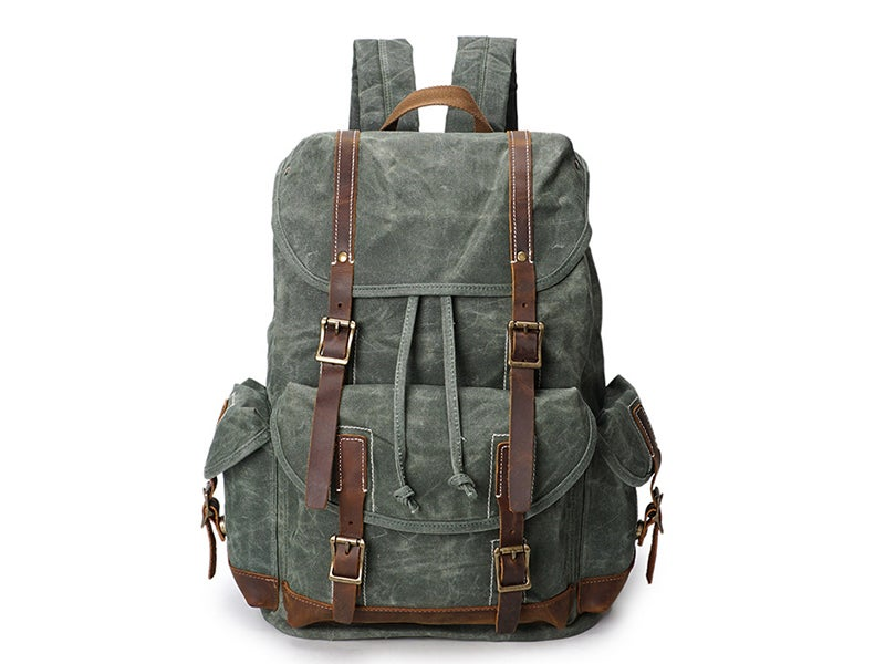"Image of Vintage Canvas Leather Laptop Backpack College School Bookbag Travel Rucksack 15"" Waterproof MT09"