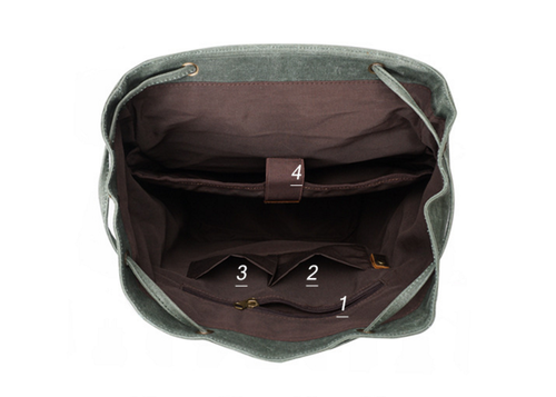 "Image of Vintage Canvas Leather Laptop Backpack College School Bookbag Travel Rucksack 15"" Waterproof MT09"