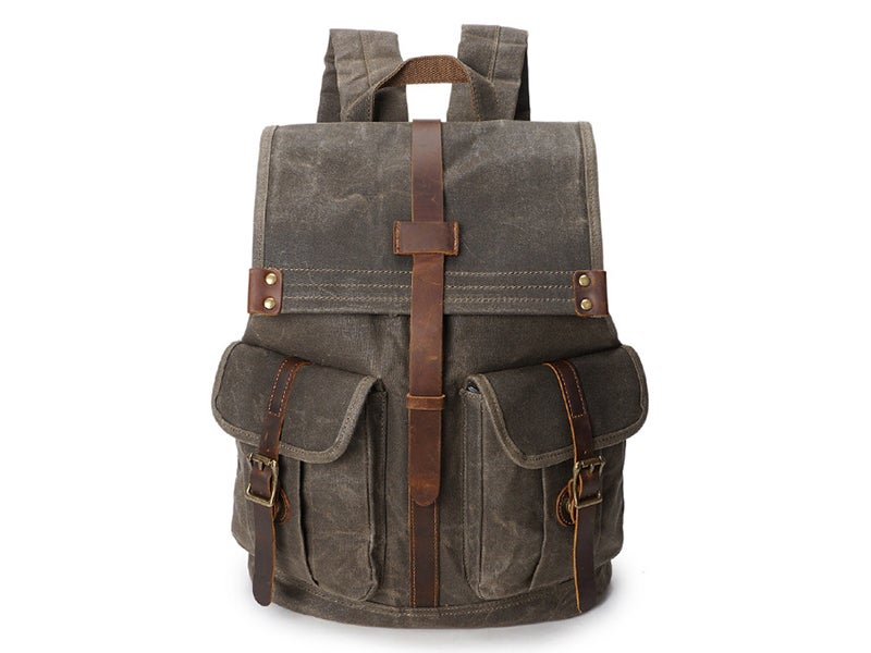 Image of 21L Vintage Canvas Backpack for Men Leather Rucksack 15'' Laptop School Military Knapsack YD5252