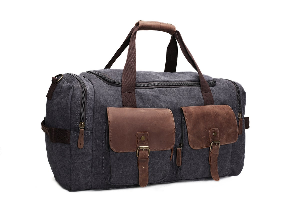 Canvas Leather Overnight Duffle Bag Canvas Travel Tote