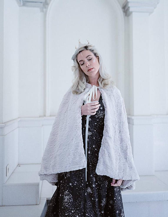 Image of Bridal Faux Fur Ivory Cape