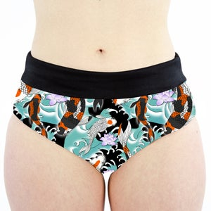 Image of Koi Pond High Waisted Cheeky Shorts