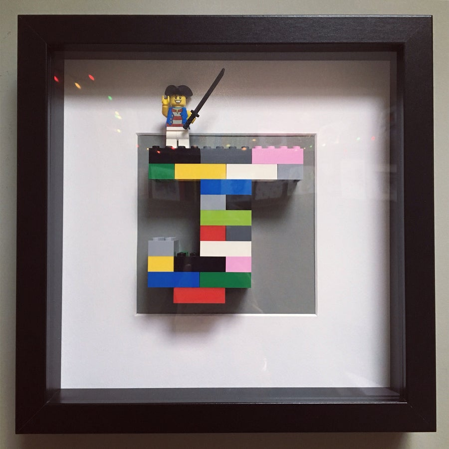 Image of Black Framed Initial & Mini Figure