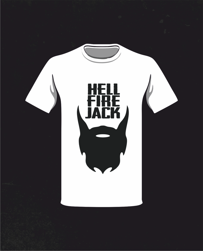 Image of Hell Fire Jack 'Beard' T-Shirt - WHITE