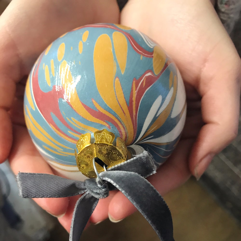 Image of Set of 12 Luxury Assorted Hand-Marbled Ceramic Baubles with ribbon
