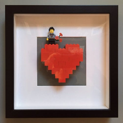 Image of Framed Red Lego® Heart & Mini Figure