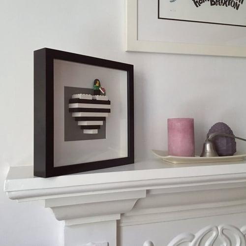Image of Framed Black & White Lego® Heart & Mini Figure