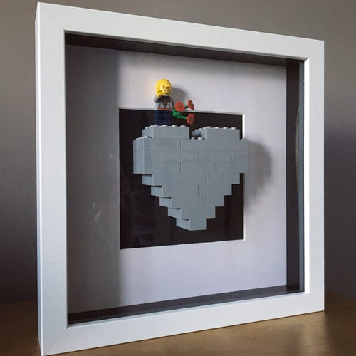 Image of Framed Grey Lego® Heart & Mini Figure