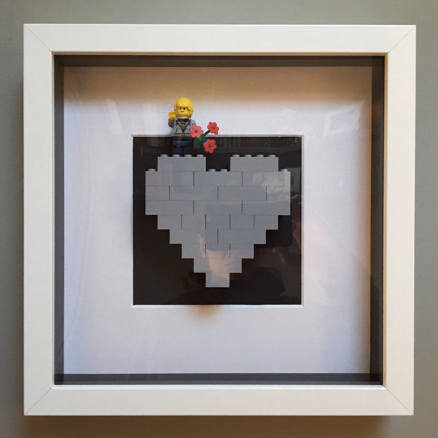 Image of Framed Grey Lego® Heart & Mini Figure
