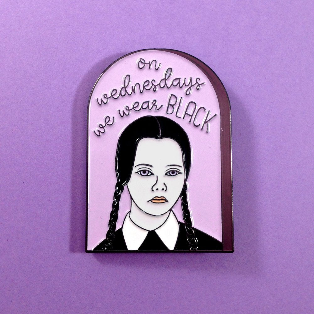 Image of On Wednesdays We Wear Black Enamel Pin