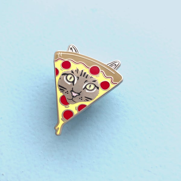 Image of pizza cat enamel pin - enamel cat pin - pizza pin - kitty lapel pin - i love pizza flair