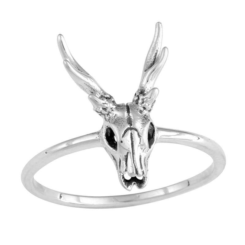 Image of Sterling Silver Dainty Deer Skull Ring