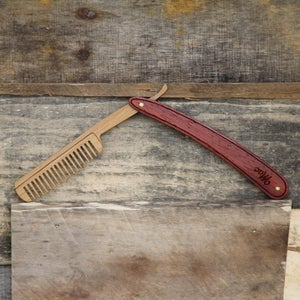 Image of Wood Straight Razor Beard Comb - Handmade and Personalized - Padauk and Bamboo Hardwoods