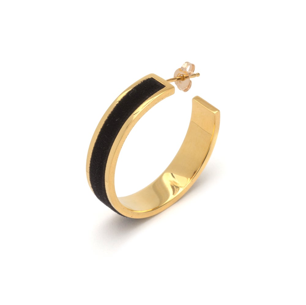 Image of Tall Velour Hoop Earrings - Gold & Black
