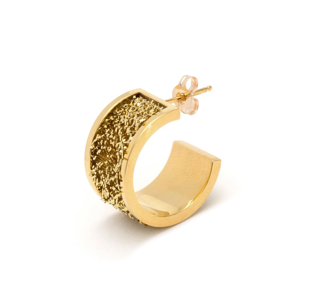 Image of Short Hoop Earrings - Gold on Gold