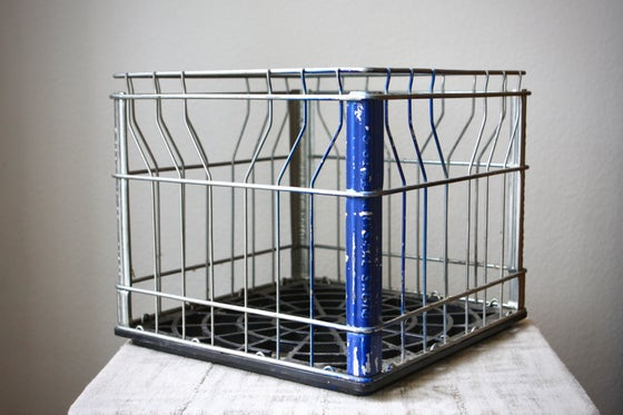 Image of Vintage Wire Metal Milk Crate from the Crystal Creamery in Sacramento, CA