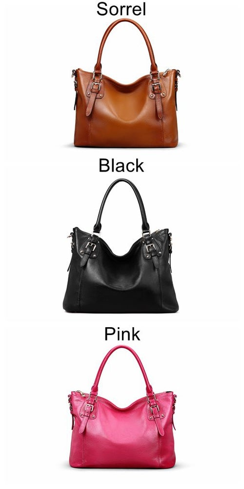 Image of 3 Colors Women's Leather Shoulder Handbags Large Capacity Totes Work Satchel Designer Purses SL9202