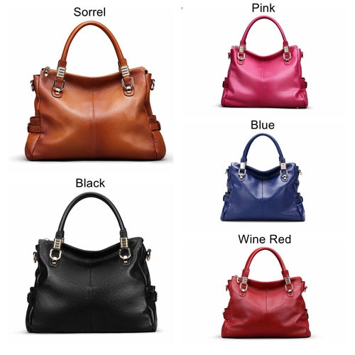 Image of 5 Colors Women Full Grain Leather Vintage Tote Shoulder Bag Top-handle Crossbody Handbags SL9333