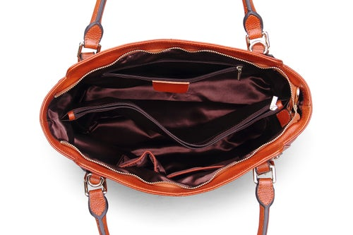 Image of Genuine Leather Top Handle Satchel Handbag Tote Shoulder Bag Purse Crossbody Bag for Women SL9456
