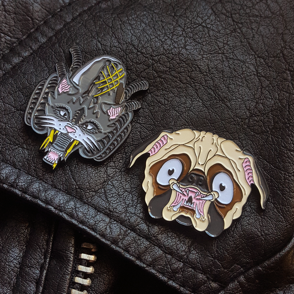 Image of 'Xenomog' vs 'Pugly Motherfucker' Enamel Pin Set