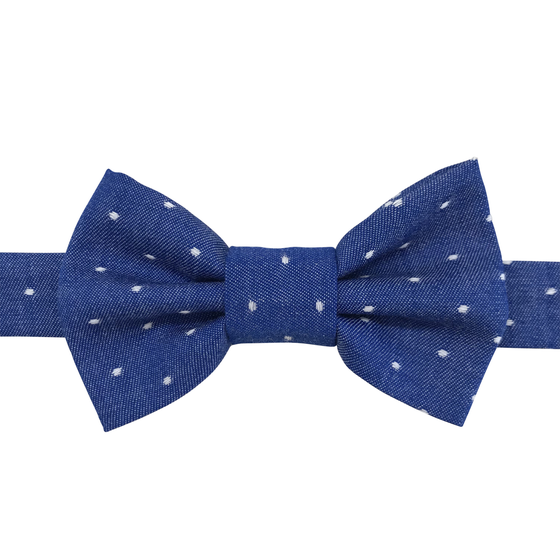 Image of royal chambray dot bow tiee