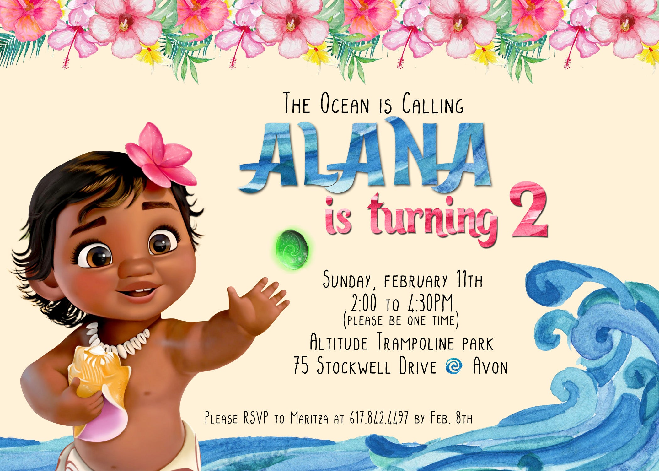 Paperfoxprints Baby Moana Birthday Invitation