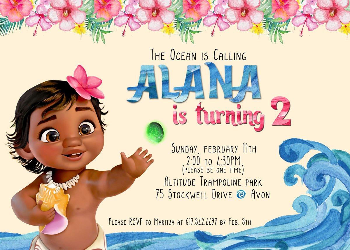 Paperfoxprints Baby Moana Birthday Invitation