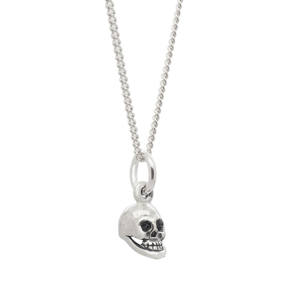 Image of Sterling Silver Dainty Skull Necklace