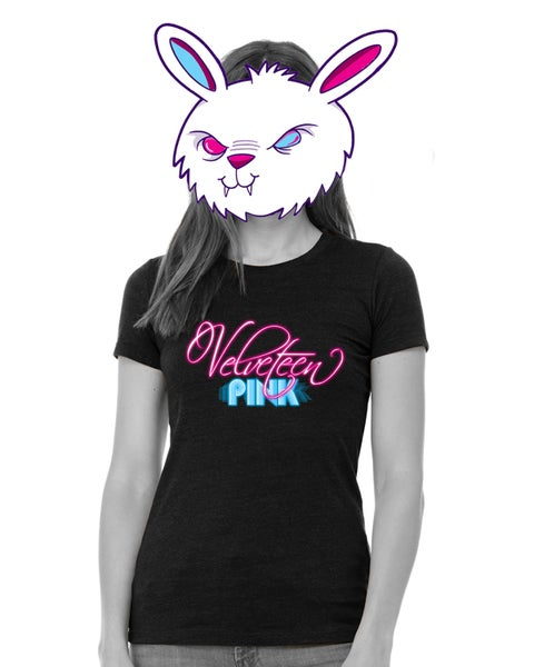 Image of Velveteen Pink Heather Black Ladies Tee + Vinyl Option!