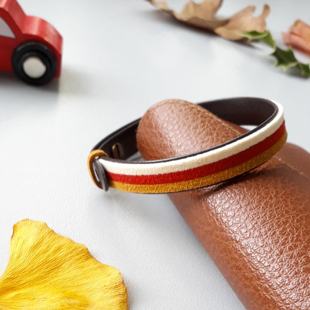 Image of Bracelet *homme* cuir et suédine - coloris : blanc camel et bordeaux