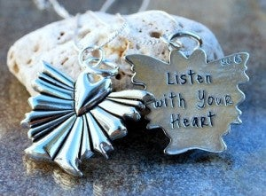 "Image of ""Listen with Your Heart"" Angel Pewter Pendant"