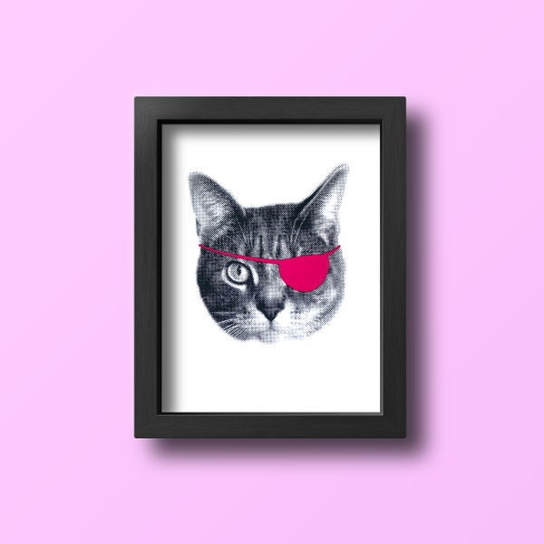 Image of gee whiskers series: eyepatch cat screenprinted 8x10 art print