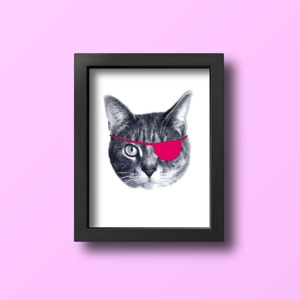 Image of gee whiskers series: eyepatch cat screenprinted 8x10 art print