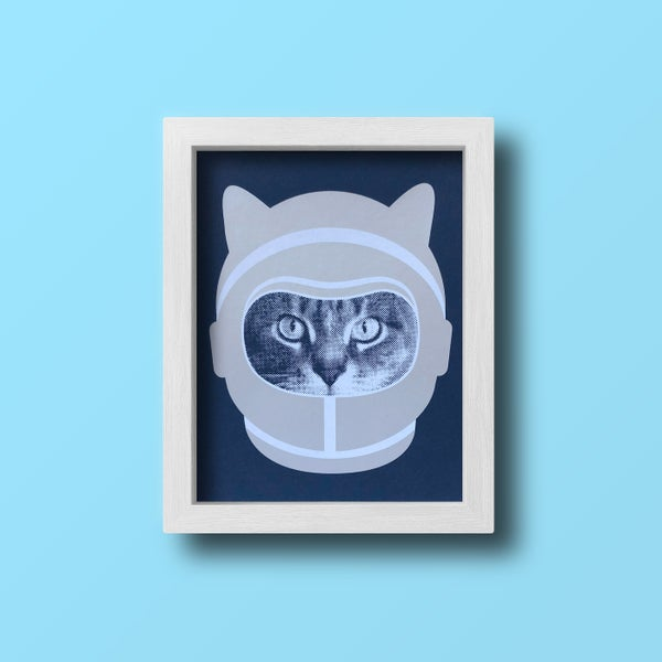 Image of gee whiskers series: space cat screenprinted 8x10 print