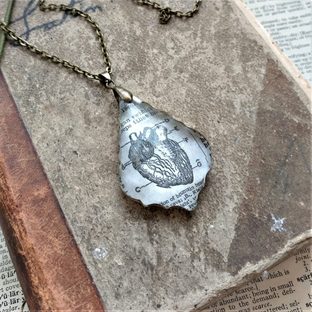 Image of Anatomical Heart Vintage Book Page Pendant Necklace