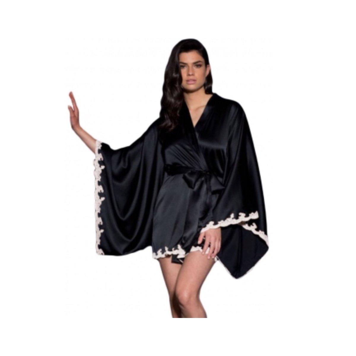 Image of Black Silk Kimono