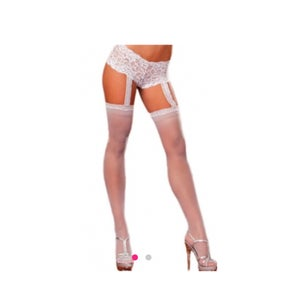 Image of White Thigh Highs w/Garter