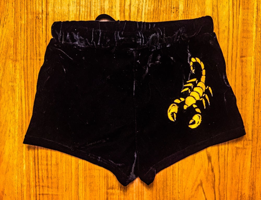 Image of Velvet Scorpion Embroidered Booty Shorts (NOW MADE TO ORDER)