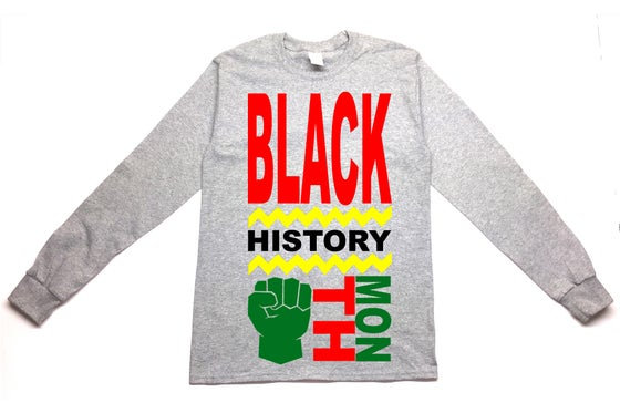 Image of Black History Month Long Sleeve T-shirt Grey