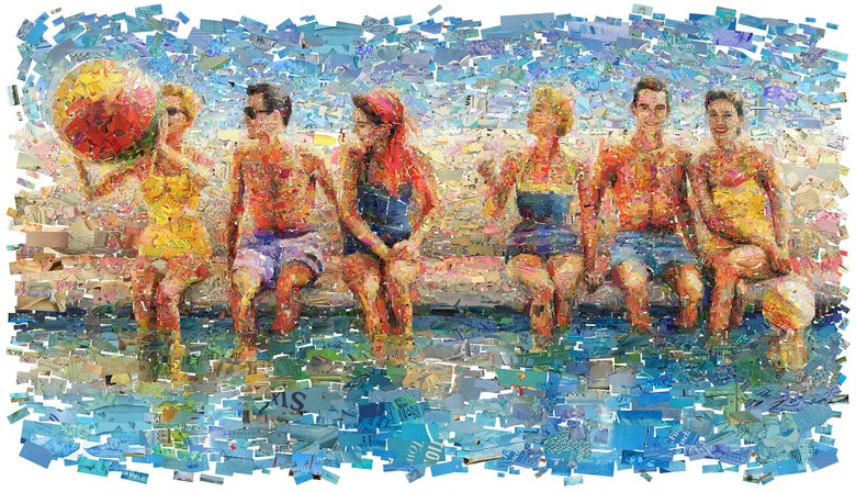 "Image of ENDLESS SUMMER ""By The Pool"" (Limited edition digital mosaic on canvas)"