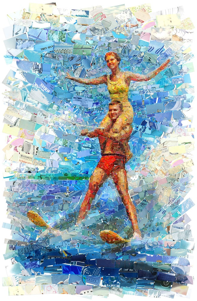 "Image of ENDLESS SUMMER ""Waterski Couple"" (Limited edition digital mosaic on canvas)"