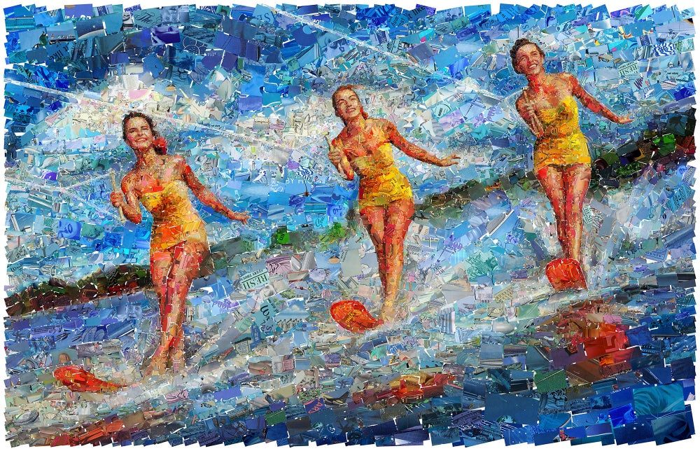 "Image of ENDLESS SUMMER ""Waterski"" (Limited edition digital mosaic on canvas)"