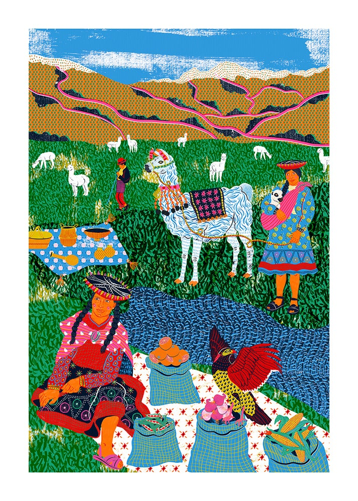 Image of Market in the Andes Print