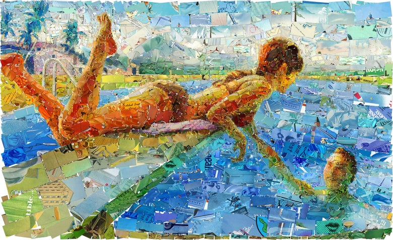 "Image of ENDLESS SUMMER ""Poollook 4"" (Limited edition digital mosaic on canvas)"