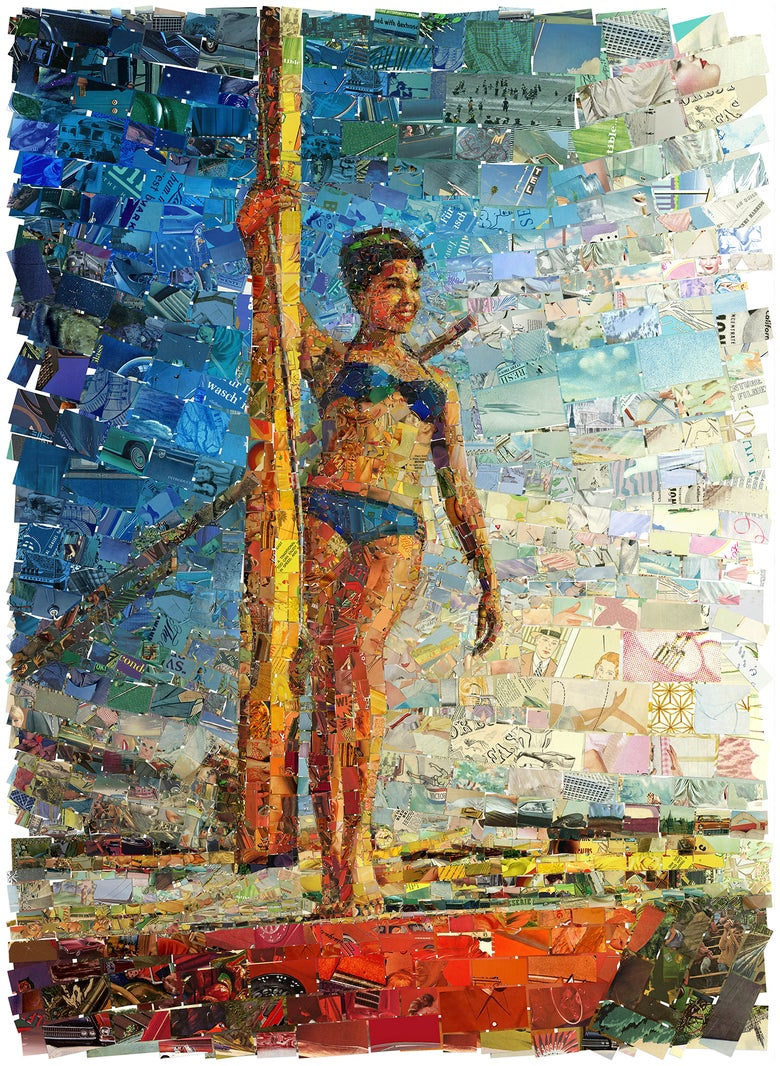 "Image of ENDLESS SUMMER ""Sailing Lady"" (Limited edition digital mosaic on canvas)"