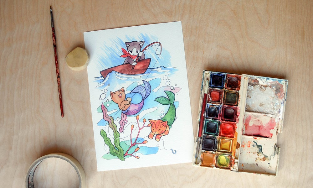 Image of Fishing for Purrmaids - Art Print